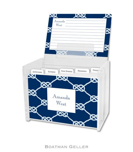 Nautical Knot Navy Personalized Lucite Recipe Boxes from Boatman Geller