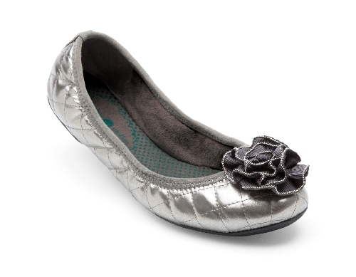 Pewter Quilted Liz Ballet Flats from Lindsay Phillips Switch Flops New!