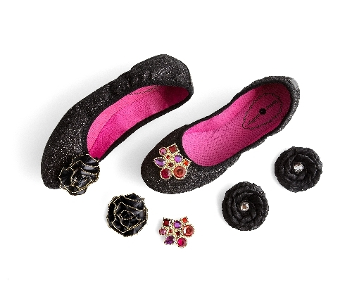 Black Glitter Bling in a Box Liz Holiday Ballet Flats from Lindsay Phillips-Switch Flops