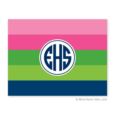 Bold Stripe Pink Green Navy Foldover Note from Boatman Geller