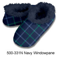 Men's Navy Windowpane Snoozies Foot Coverings-New!