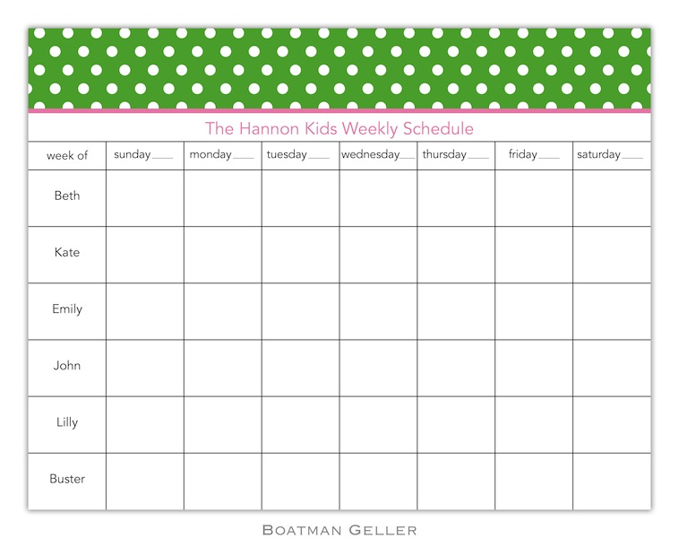 Dot Green Calendar Pad from Boatman Geller