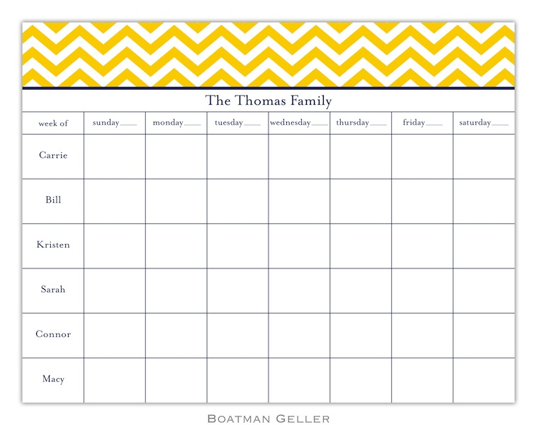 Chevron Sunflower Calendar Pad from Boatman Geller