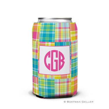 Madras Patch Bright Personalized Boatman Geller Can Koozies