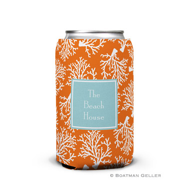 Coral Repeat Personalized Boatman Geller Can Koozies
