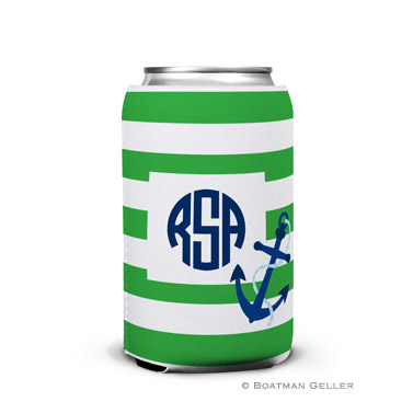 Stripe Anchor Personalized Boatman Geller Can Koozies