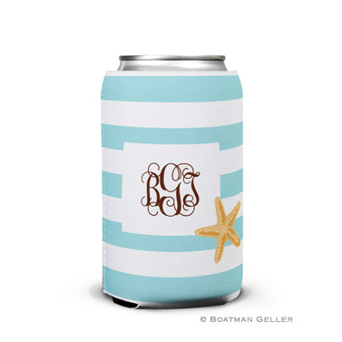 Stripe Starfish Personalized Boatman Geller Can Koozies