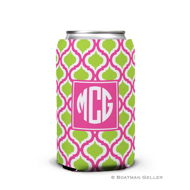 Kate Raspberry & Lime Personalized Boatman Geller Can Koozies