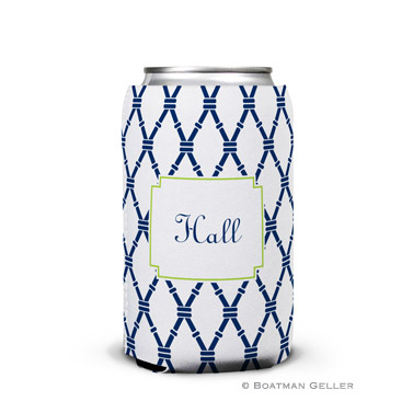 Bamboo Navy & Green Personalized Boatman Geller Can Koozies