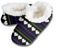 Black Heart Stripe Hot Mocs Snoozies Foot Coverings-New!