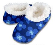 Poppy Blooms Navy Snoozies Foot Coverings-New!