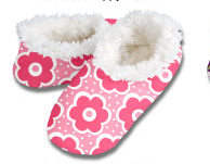 Daisy Dots Pink Snoozies Foot Coverings-New!