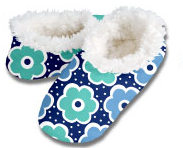 Daisy Dots Navy Snoozies Foot Coverings-New!