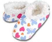 Butterfly Hearts White Snoozies Foot Coverings-New!-snoozies, fleece foot coverings, snoozies foot coverings, snoozies slippers, Butterfly Hearts White snoozies