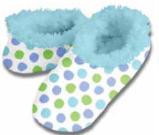 Half Drop Dots Blue Snoozies Fleece Foot Coverings-New!