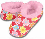 More Modern Daisy Red Snoozies Fleece Foot Coverings-New!