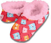 Owls Red Snoozies Fleece Foot Coverings-New!