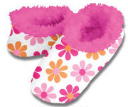Daisy Chain Pink Snoozies Fleece Foot Coverings-New!