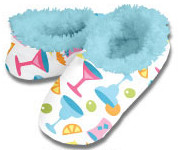 Cocktails Blue Snoozies Fleece Foot Coverings-New!