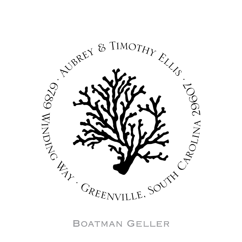 Custom Self Inking Coral Stamper from Boatman Geller-personalized self-inking stamper from boatman geller, coral stamper from boatman geller