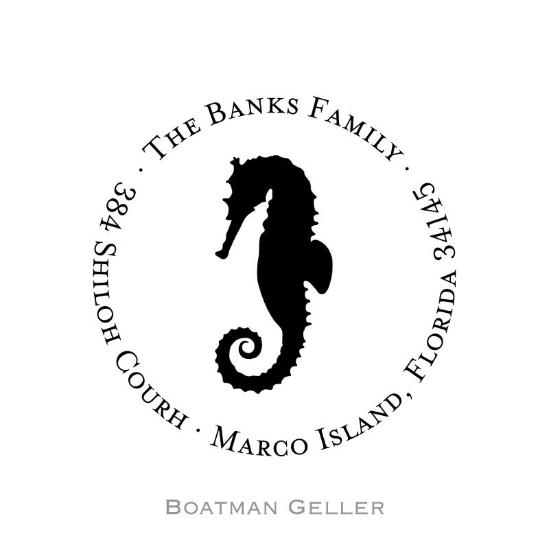 Custom Self Inking Seahorse Stamper from Boatman Geller-personalized self-inking stamper from boatman geller, seahorse stamper from boatman geller