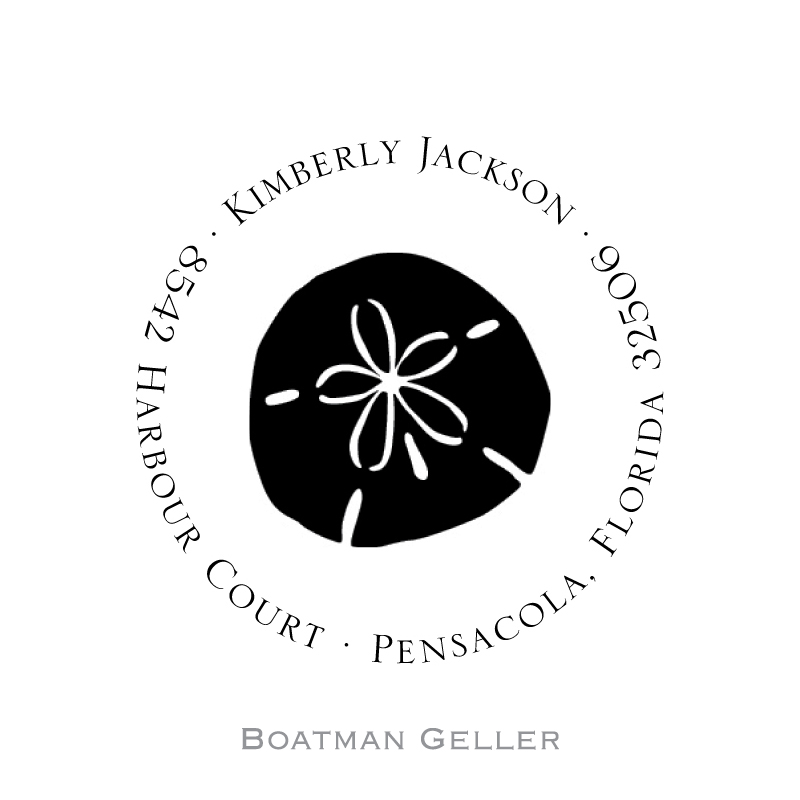 Custom Self Inking Sand Dollar Stamper from Boatman Geller-personalized self-inking stamper from boatman geller, sand dollar stamper from boatman geller