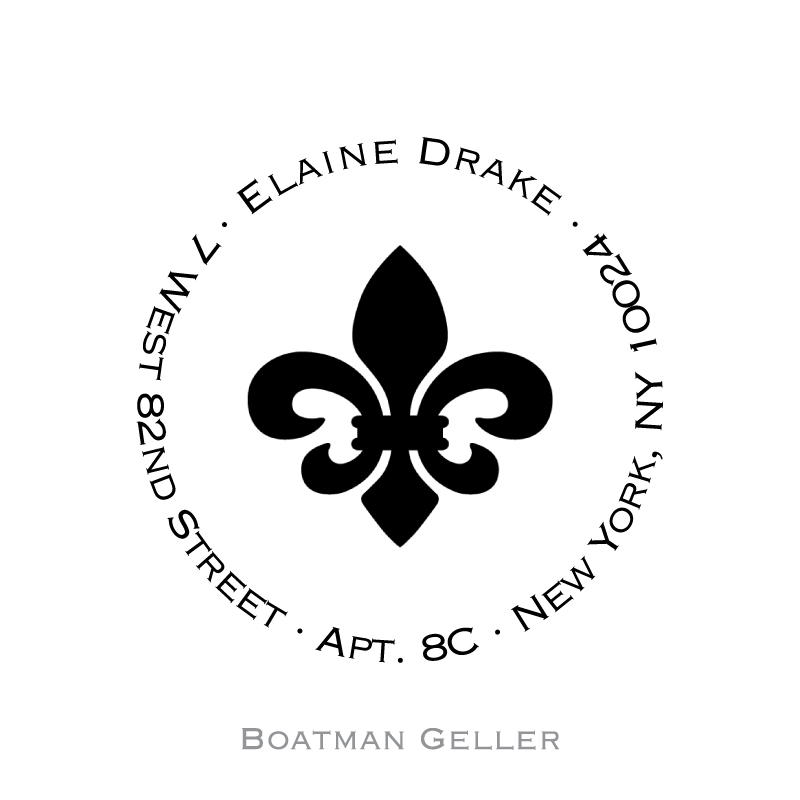Custom Self Inking Fleur de Lis Stamper from Boatman Geller-personalized self-inking stamper from boatman geller, Fleur de Lis stamper from boatman geller