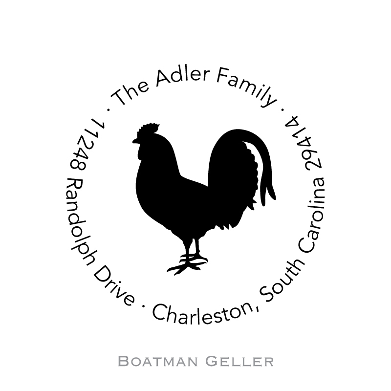 Custom Self Inking Rooster Stamper from Boatman Geller-personalized self-inking stamper from boatman geller, rooster stamper from boatman geller