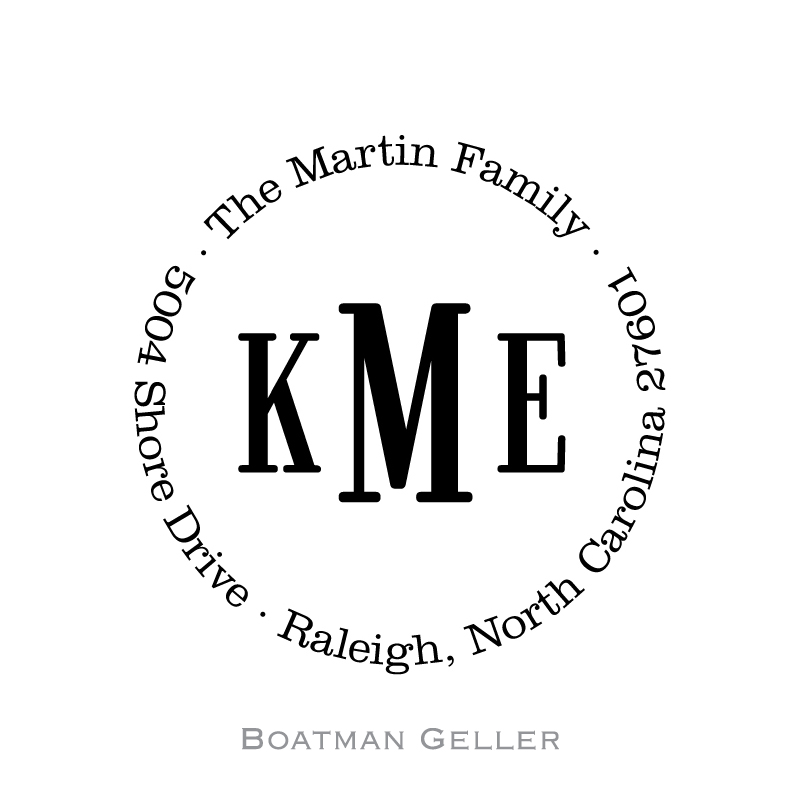 Custom Self Inking Classic Monogram Stamper from Boatman Geller