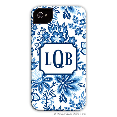 Classic Floral Blue Personalized Boatman Geller Hard Cell Phone and Tech Cases