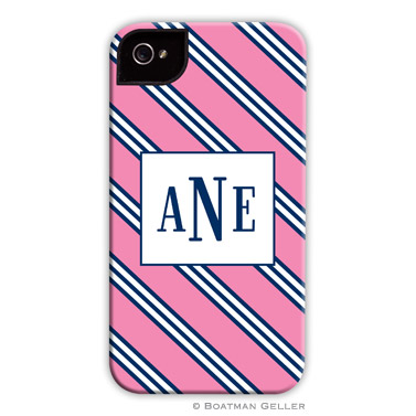 Repp Tie Pink & Navy Personalized Boatman Geller Hard Cell Phone and Tech Cases