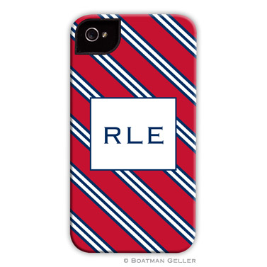 Repp Tie Red & Navy Personalized Boatman Geller Hard Cell Phone and Tech Cases