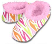 Hot Zebra Multi Snoozies Fleece Foot Coverings-New!-snoozies, fleece foot coverings, snoozies foot coverings, snoozies slippers, Poppies snoozies