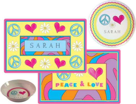 Peace Love Eat Placemat from Kelly Hughes Designs