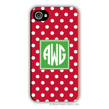 Polka Dot Red Personalized Boatman Geller Hard Cell Phone and Tech Cases