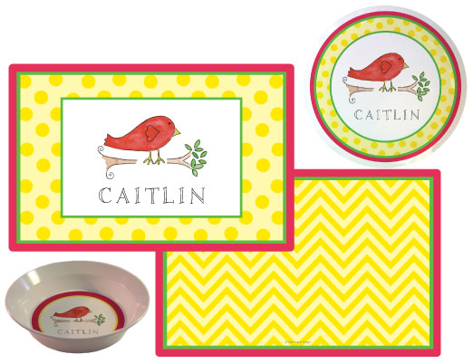 Little Birdie Melamine Plate from Kelly Hughes Designs