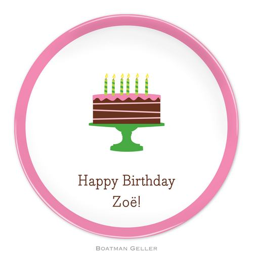 Personalized Melamine Birthday Cake Pink Plate from Boatman Geller