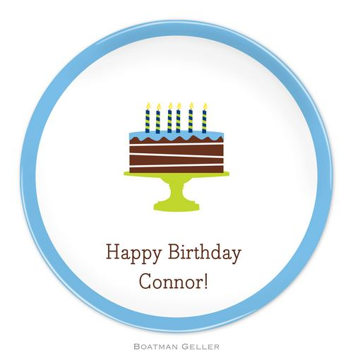 Personalized Melamine Birthday Cake Blue Plate from Boatman Geller
