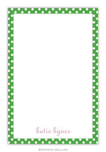 Dot Green Personalized Notepads and Note Sheets from Boatman Geller
