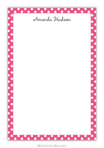 Dot Pink Personalized Notepads and Note Sheets from Boatman Geller