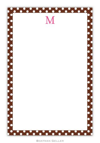Brown Dot Personalized Notepads and Note Sheets from Boatman Geller