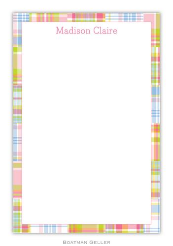 Madras Patch Pink Personalized Notepads and Note Sheets from Boatman Geller
