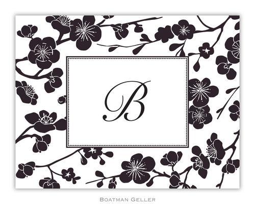 Blossom Black Foldover Note from Boatman Geller