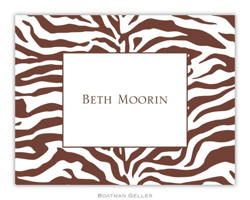 Zebra Brown Foldover Note from Boatman Geller