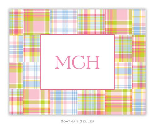 Madras Patch Pink Foldover Note from Boatman Geller