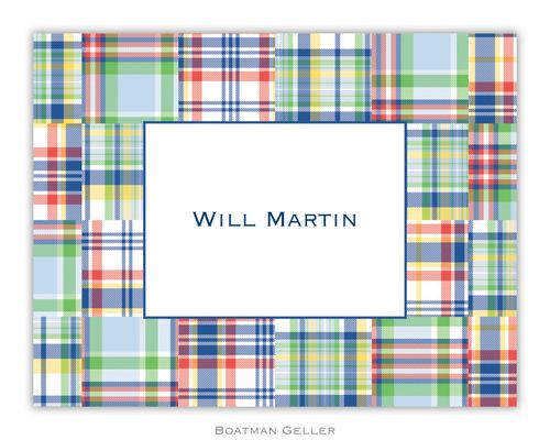 Madras Patch Blue Foldover Note from Boatman Geller