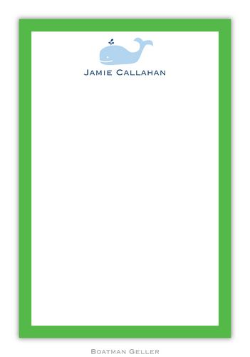 Whale Personalized Notepads and Note Sheets from Boatman Geller