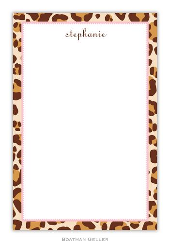 Leopard Brown Personalized Notepads and Note Sheets from Boatman Geller