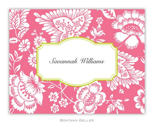 Savannah Pink Foldover Note from Boatman Geller-boatman geller foldover notes, personalized note cards from boatman geller, Savannah Pink Foldover Note from Boatman Geller