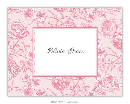 Floral Toile Pink Foldover Note from Boatman Geller